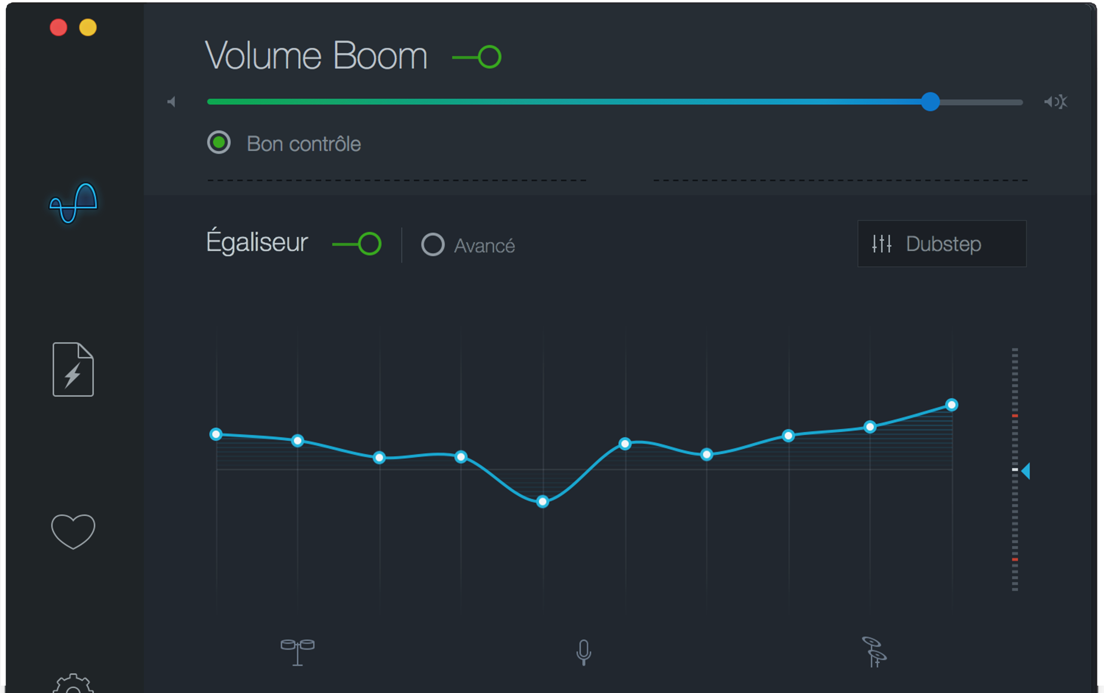 Interface de l'amplificateur de volume Boom 2 pour Mac